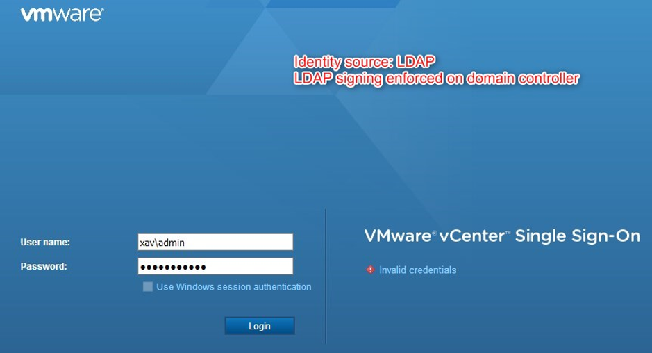 Unencypted LDAP vCenter Single Sign in