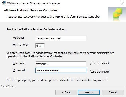 vCenter SRM Credentials