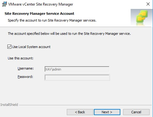 vCenter SRM Use Local System Account