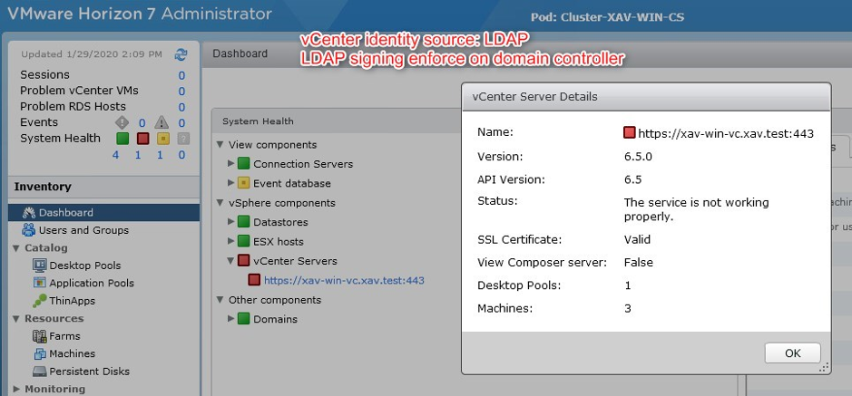 vCenter servers paired with Horizon