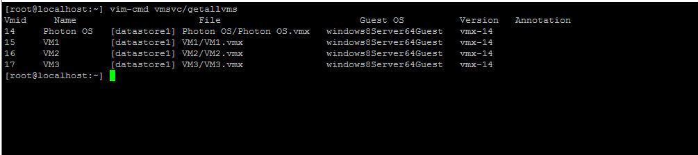 VMID command line information retrieval