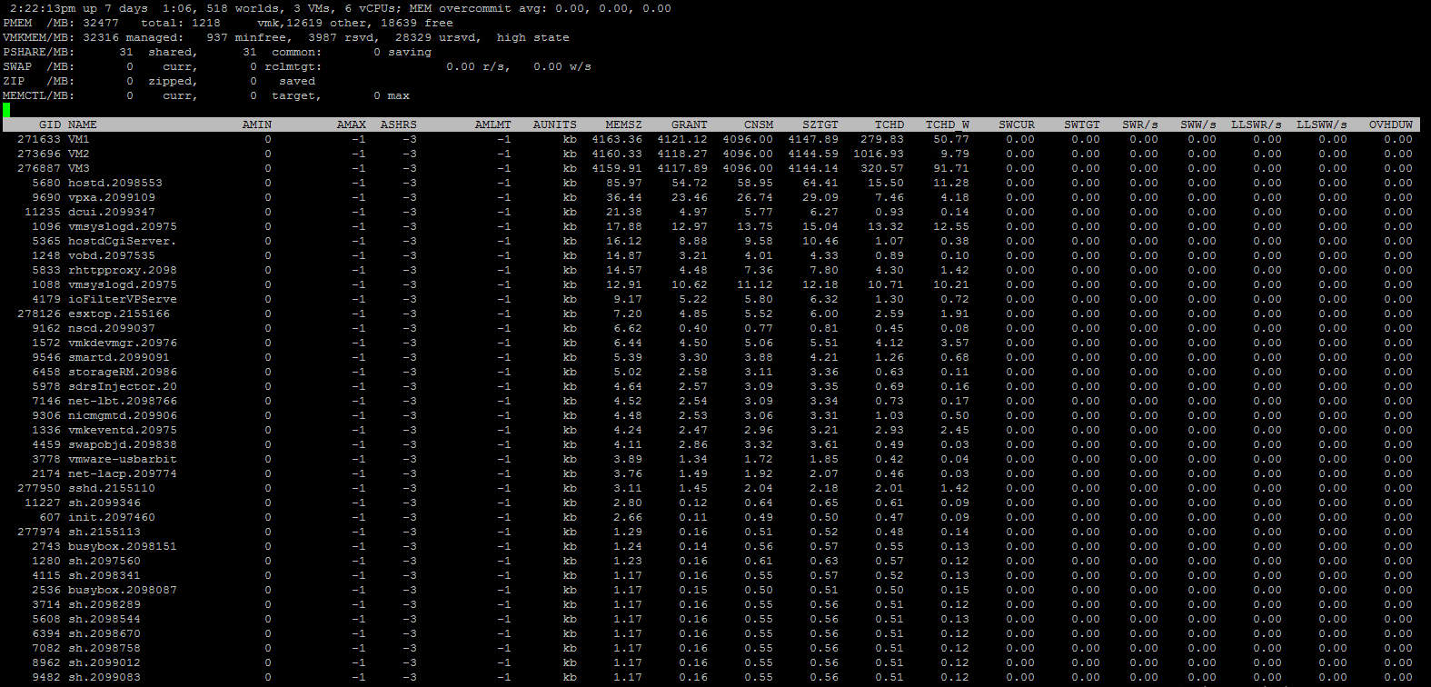 Esxtop tool memory usage statistics