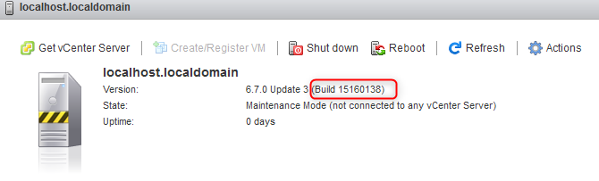 Host Build after patch installation with ESXCLI