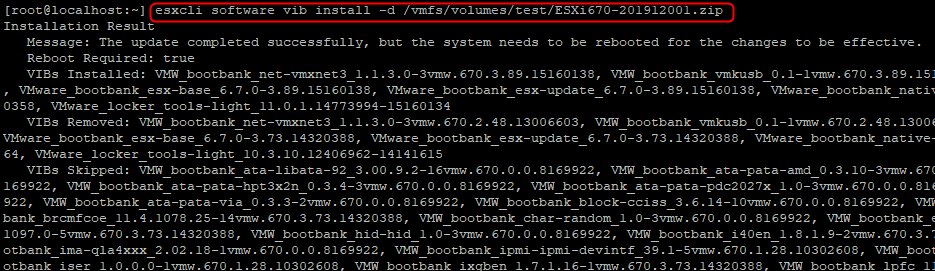 Install host patches with ESXCLI command line