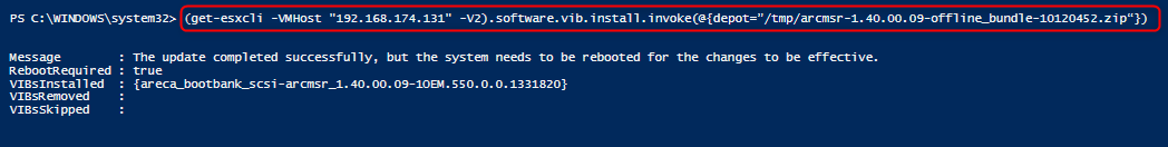 Install the package with the depot file, PowerCLI