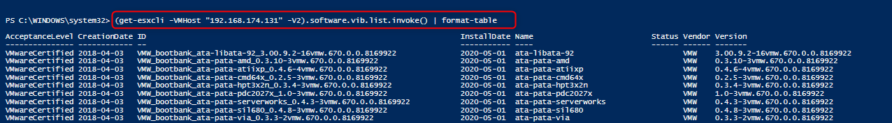 List the installed VIBs, PowerCLI