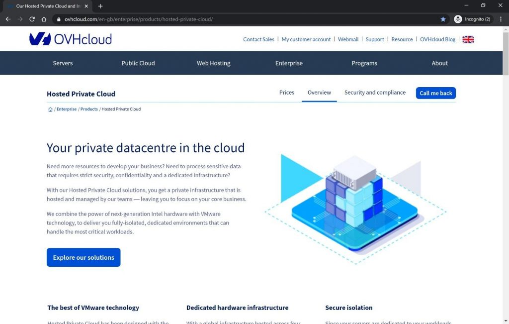 OVH cloud, hosted private cloud