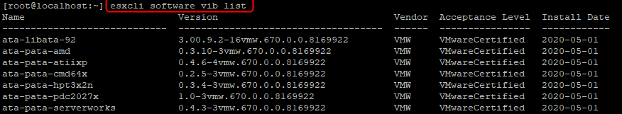 SSH shell, VIB's installed on the system