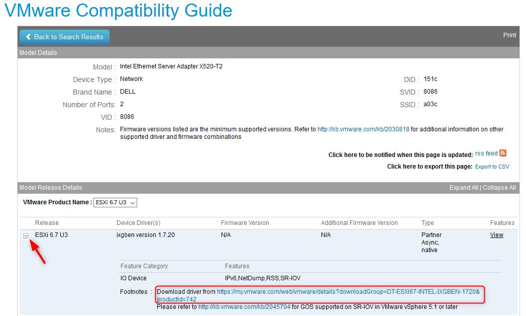 VMware Compitability Guide