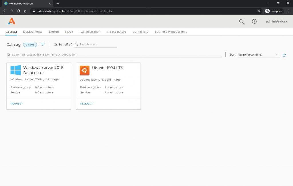 vRealize Automation self-service catalog
