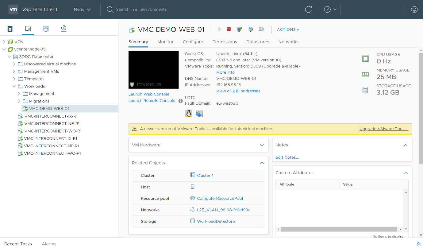 VM running in VMware Cloud on AWS and accessible from the cloud vCenter