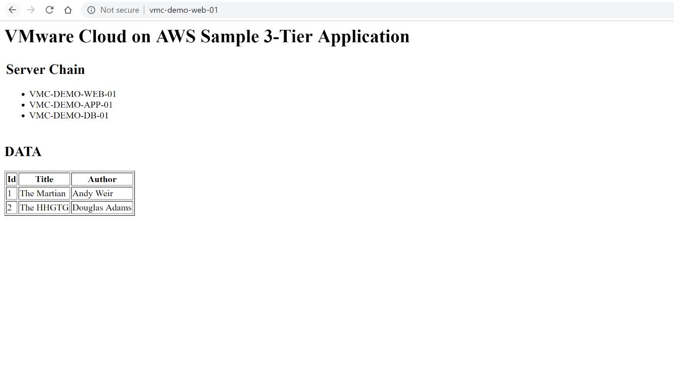 VMware Cloud on AWS Sample 3 Tier Application