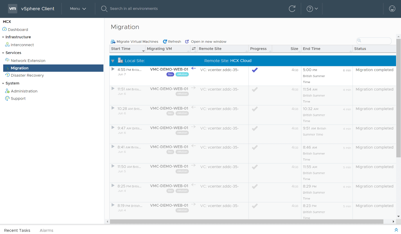 Migration page of the HCX plugin