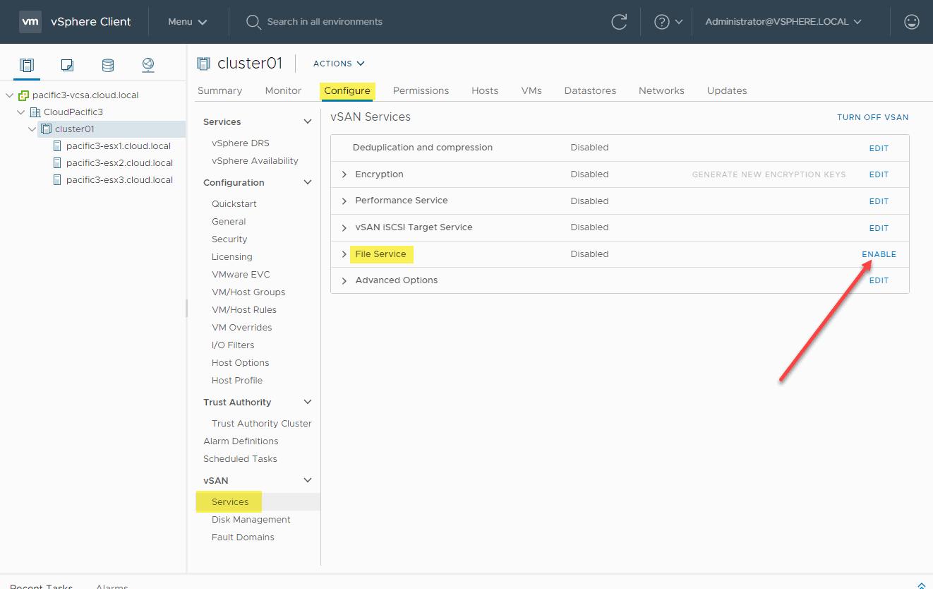 Configuring the native file services in VMware vSAN 7.0