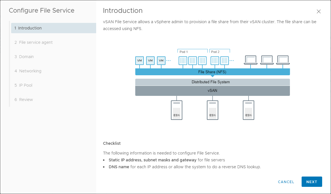 The Configure File Service wizard sets up the file services on vSAN 7.0