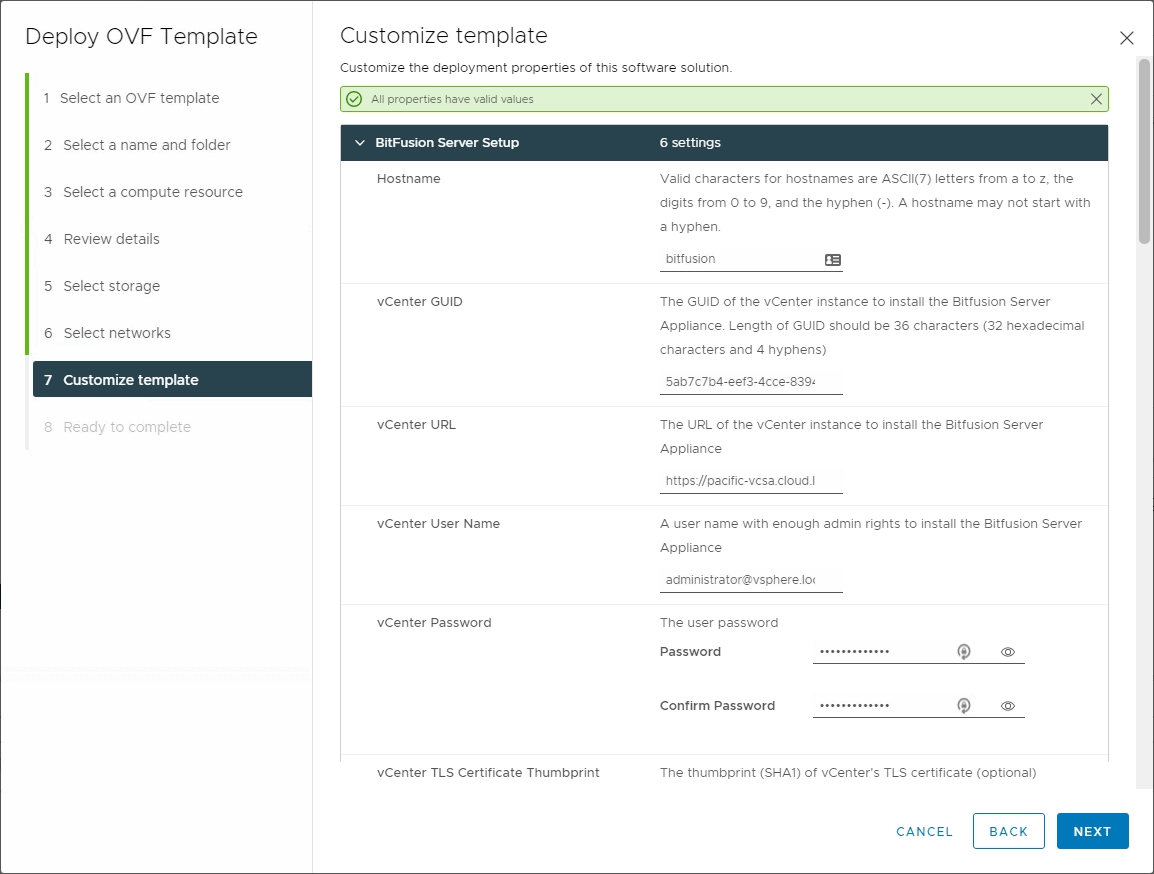 Configuring the Bitfusion Server template before deployment