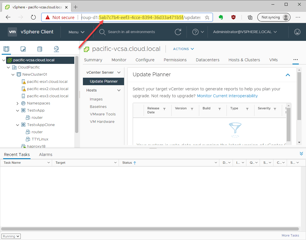 Finding the vCenter Server GUID in a browser session with the vSphere Client