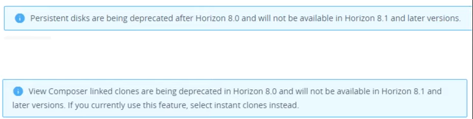 Horizon 8 deprecated persistent disks