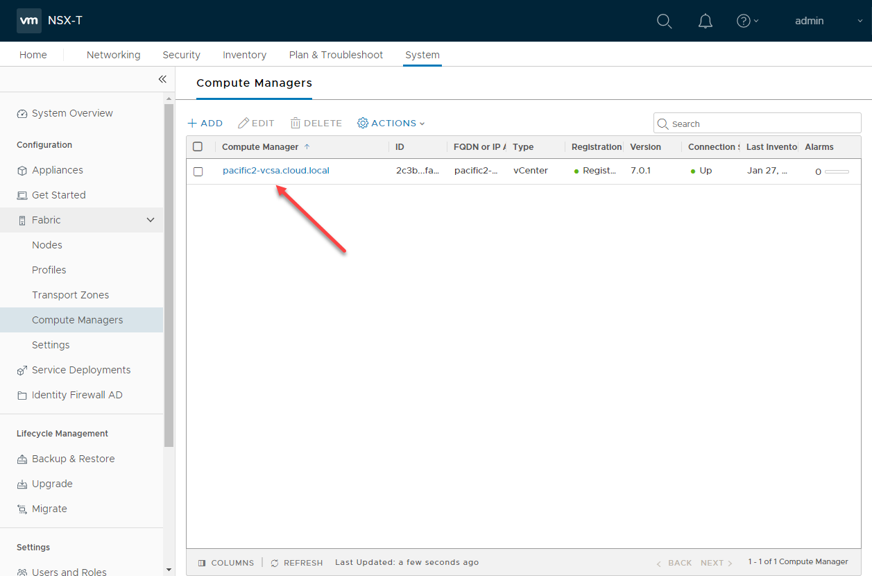 Adding vCenter Server as a Compute Manager in NSX-T