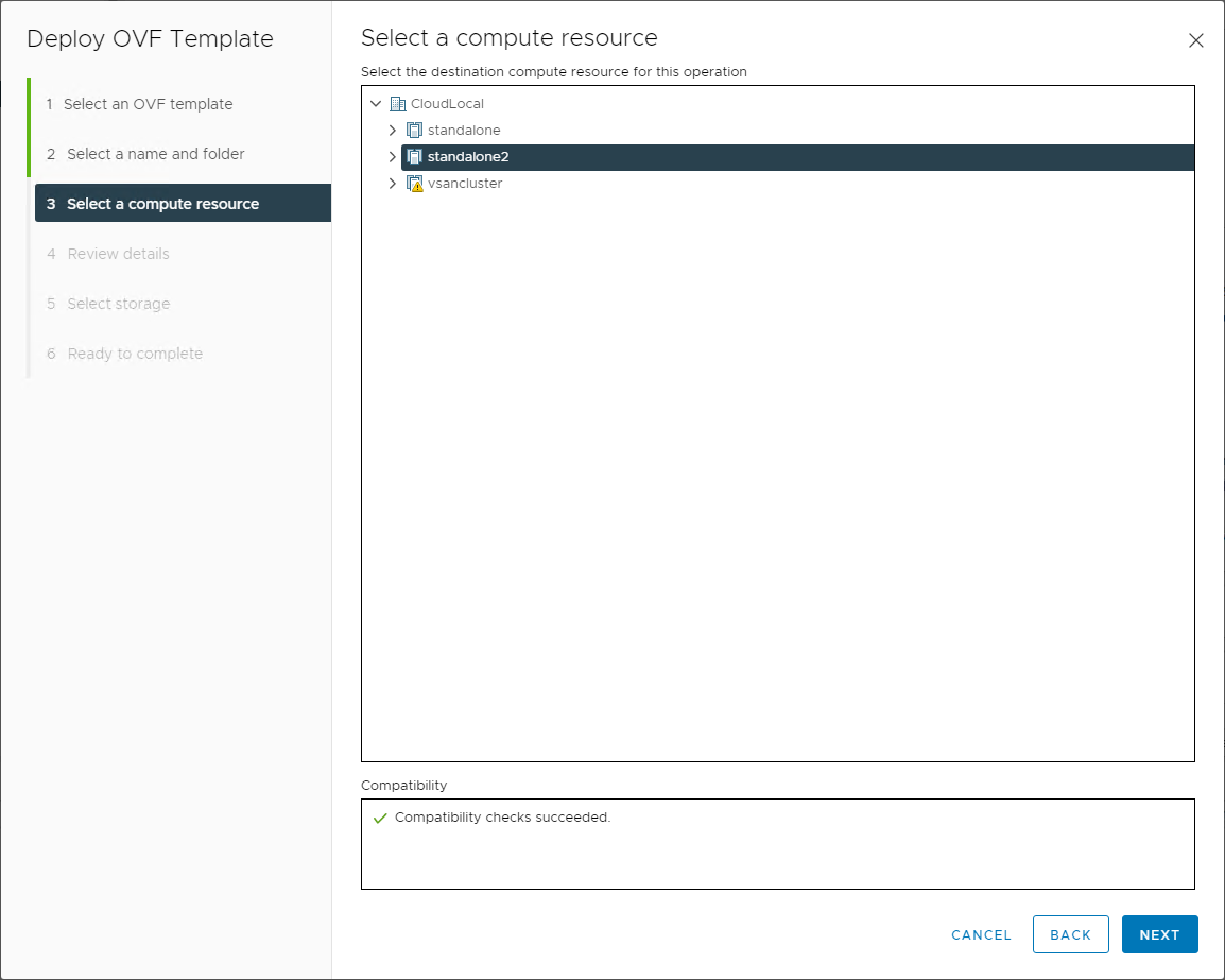 Choose the compute resource from your VMware vSphere datacenter