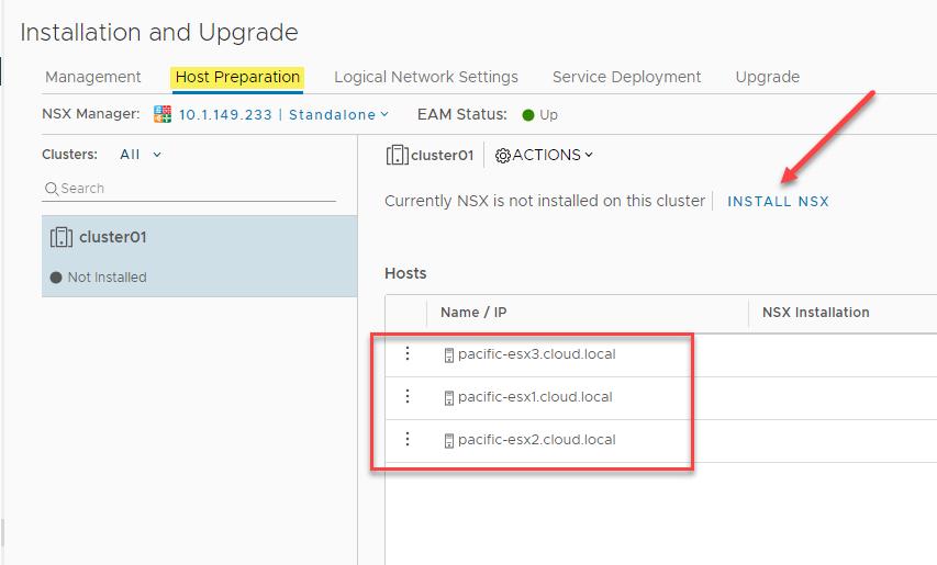 Choosing to Install NSX