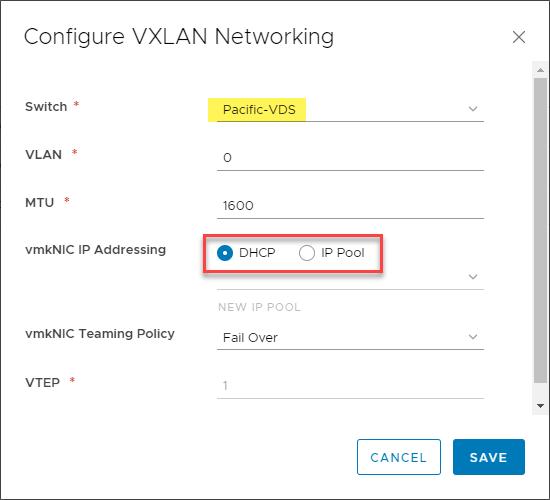 Configuring VMware VXLAN networking