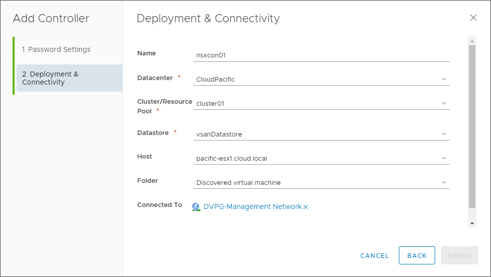 Configuring deployment and connectivity options for the VMware NSX Controller Node