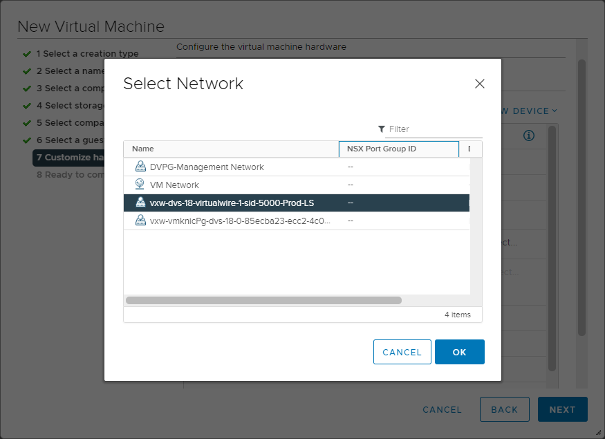 Connecting a new virtual machine to a new Logical Switch