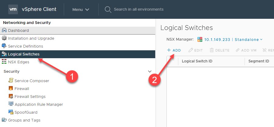 Creating a new VMware NSX-V Logical Switch