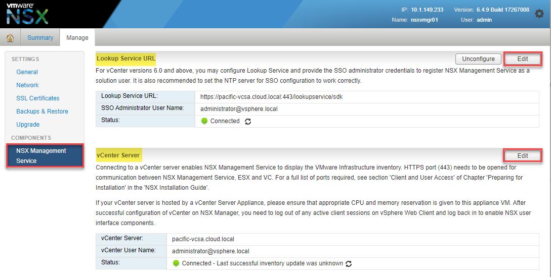 Registering the Lookup Service URL and vCenter Server address