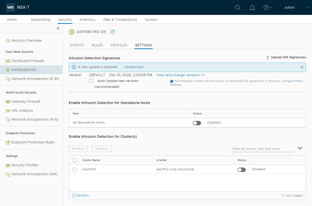 VMware NSX-T Distributed IDS/IPS