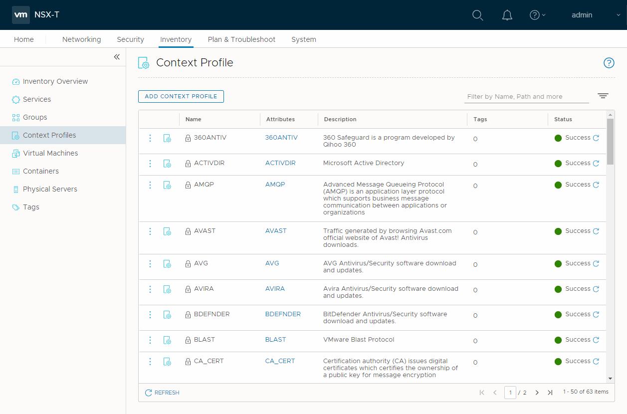VMware NSX-T application context