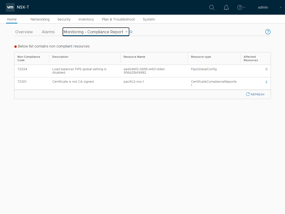 VMware NSX-T monitoring and compliance report