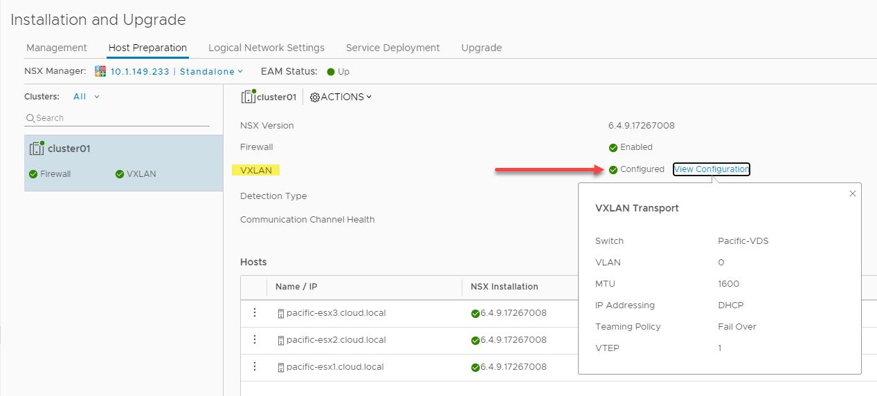 VXLAN successfully configured in VMware NSX-V