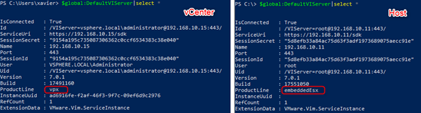 Content of $DefaultVIServer when connected to a vCenter and a standalone host