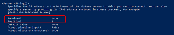 Server parameter of the Connect-VIServer cmdlet