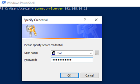 Input credentials to connect