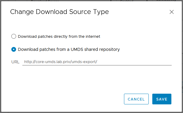 Download Patches from a UMDS shared repository