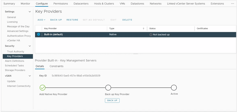 ESXi Host Key Providers