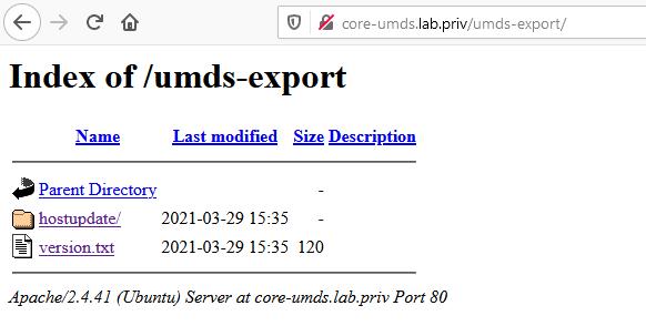 Index of UMDS export